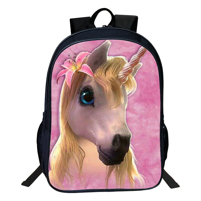 Hot Polyester 16-inches Printing Animal Horse 3d Unicorn Women Schoolbag Backpacks For Teenage Girl School Bags Children Bookbag
