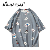 2017 Men S Funny T Shirts Playing Cards Print Tshirts Short Sleeve Hip Hop Casual T