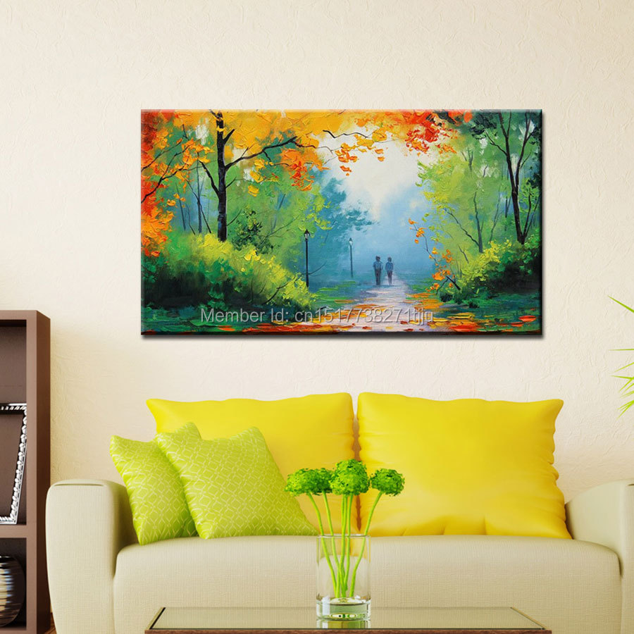 Large Canvas Art Cheap Modern Handmade green spring scenery oil ...