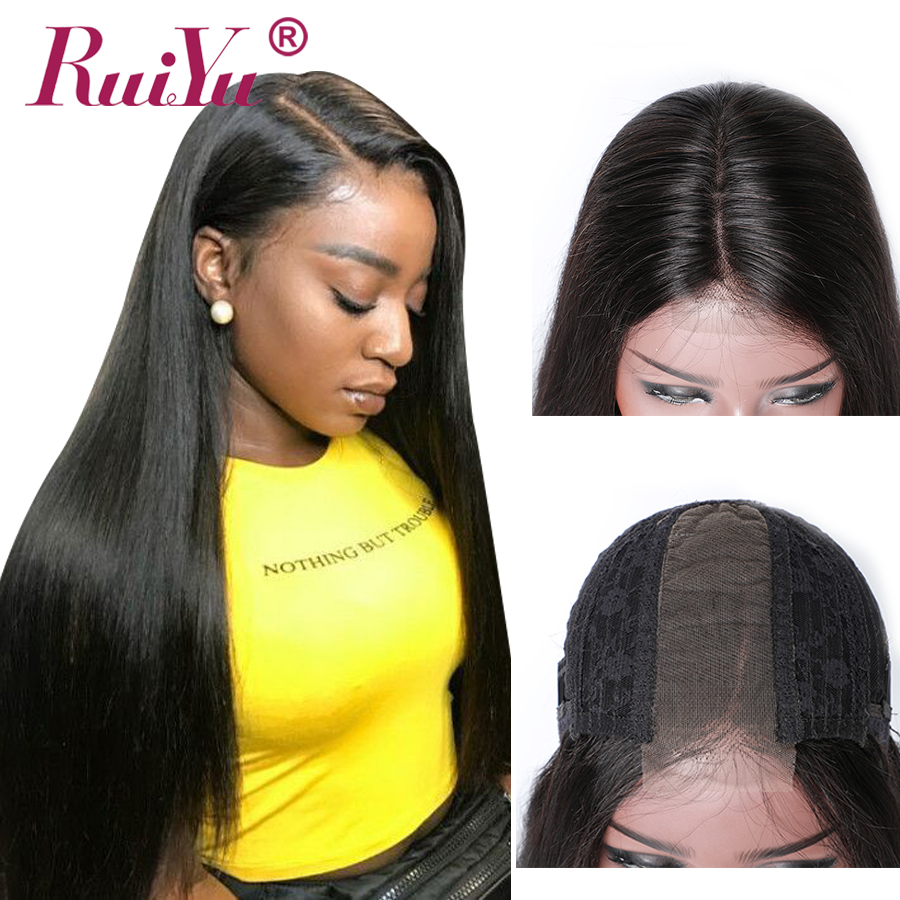 2x6 Lace Front Human Hair Wigs Brazilian Hair Straight Lace Front Wig For Women Middle Part 150% Density RUIYU Remy Lace Wig