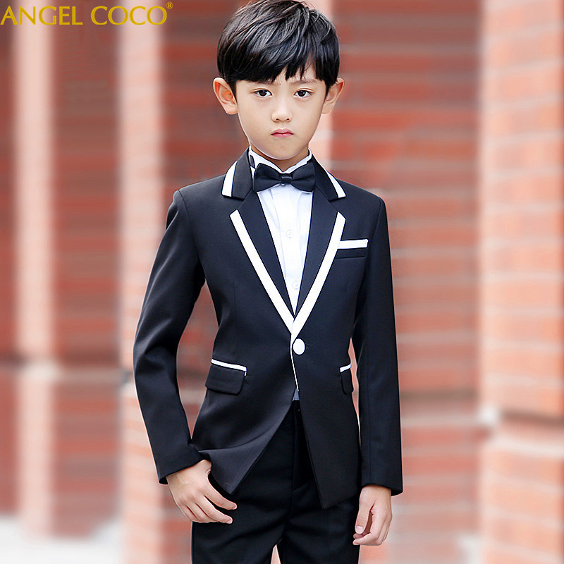 2018 New Fashion White/Balck Baby Boys Suit Kids Blazers Boy Suit For Weddings Prom Formal Spring Autumn Wedding Dress Boy Suits