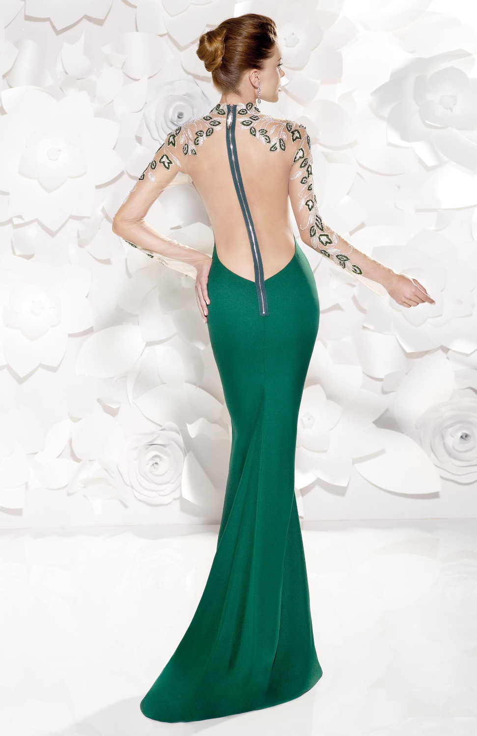 Emerald Green Prom Dress High Slit Evening Dresses With Embroidery ...