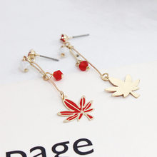 Trendy Red Enamel Crystals Canada Maple Leaf Long Drop Earrings For Women Lady Party gifts(China)