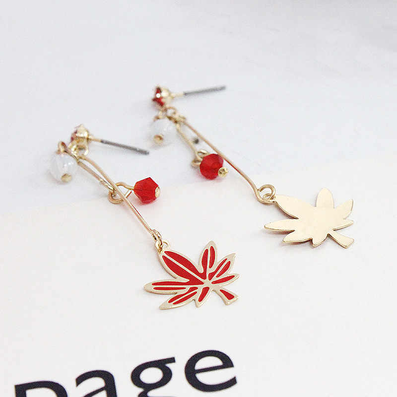 Trendy Red Enamel Crystals Canada Maple Leaf Long Drop Earrings For Women Lady Party gifts