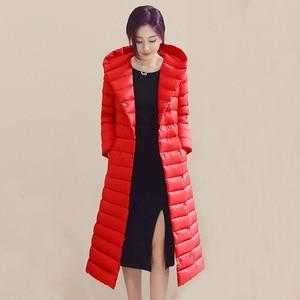 Image 4 - Sanishroly 2018 White Duck Down Jacket Tops Women Sashes Long Ultra Light Down Coat Parka Female Hooded Outerwear Plus Size 288