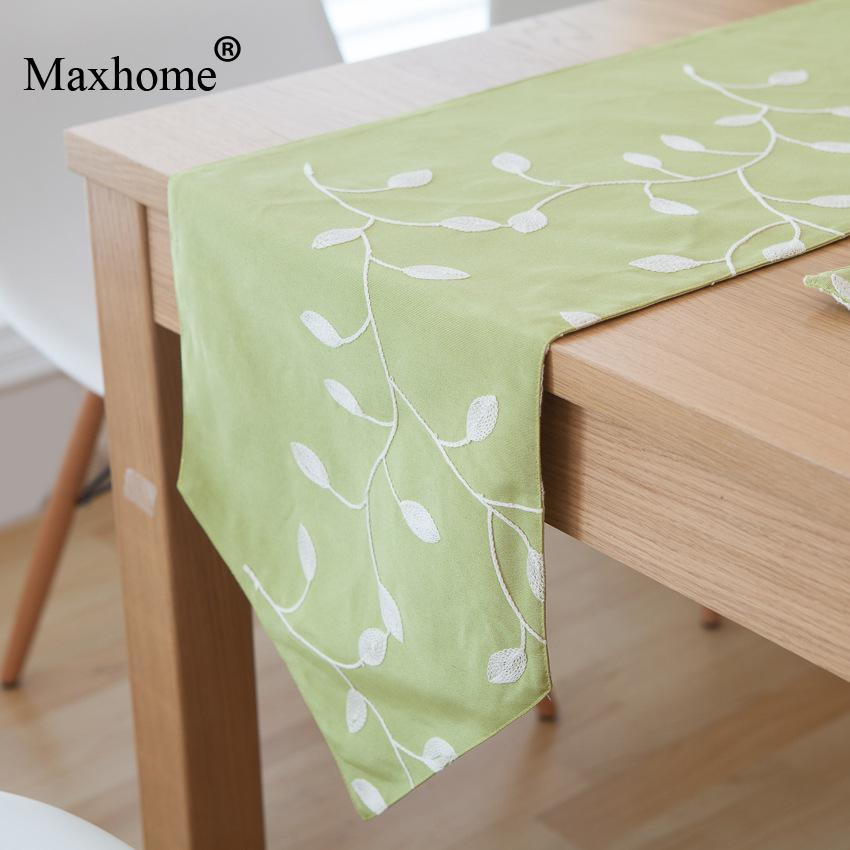 French country cotton table flag embroidered table runner placemats fresh leaves tea mats chemin - Chemin de table lavande ...