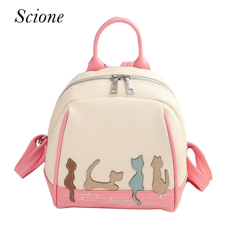 Korean Style Cat Embroidery Women PU Leather Backpack School Bag for Teenage Girls Travel Shoulder Bags Schoolbag Mochila 131614 women backpack black red fashion style school daypacks funny quality pu leather small shoulder bag teenage girl travel back pack