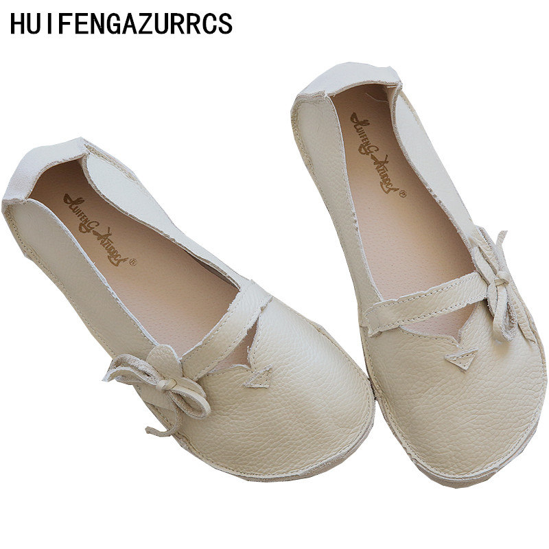 HUIFENGAZURRCS Korean style handmade shoes comfortable soft bottom leather and breath ablestyle really full leather flat