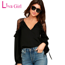Liva Girl Womens Tops And Blouses Plus Size Clothing Long Sleeve Ruffle Shoulder Chiffon Lace Blouse Femme Blusas Femininas(China)