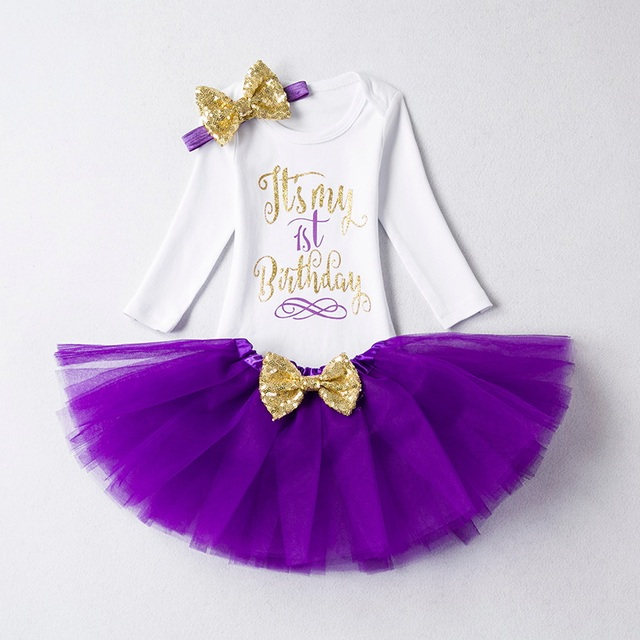 Baby Girl Clothes Brand New Born Baby 1 Year Birthday Outfits Infant Clothing Baby Sets Romper+Headband+Tutu Skirt Baby Suits 2