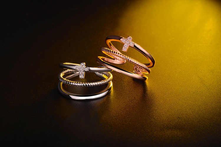 2017 وصول جديدة أفضل بيع الأزياء لامعة الكريستال عبر 925 الفضة الاسترليني ladies'finger خواتم المجوهرات بالجملة هدية
