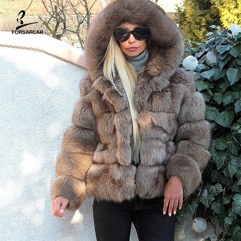 FURSARCAR Women Cafe Latte Real Blue Fox Fur Jacket With Hood 2019 New Arrival Female Luxury Natural Fur Coats Plus Size Clothes