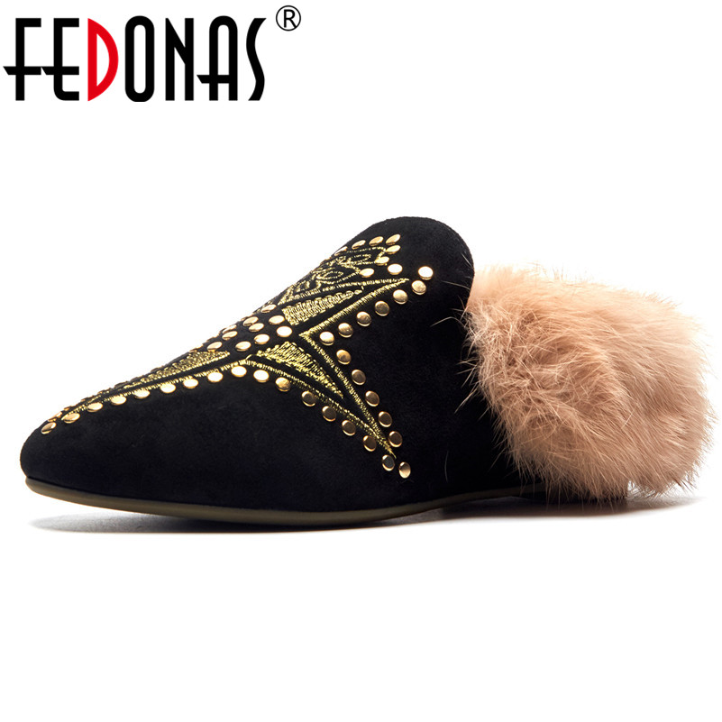 FEDONAS New Brand Rivets Women Flats Shoes Woman Warm Autumn Winter Party Casual Shoes Sexy Round Toe Mules Flats Shoes цена 2017