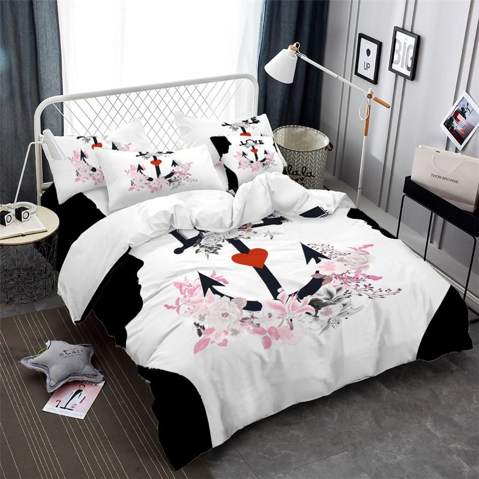 Romantic Couples Bedding Set Anchor Flowers Print Duvet Cover Girls Princess Valentines Day Quilt Pillowcase