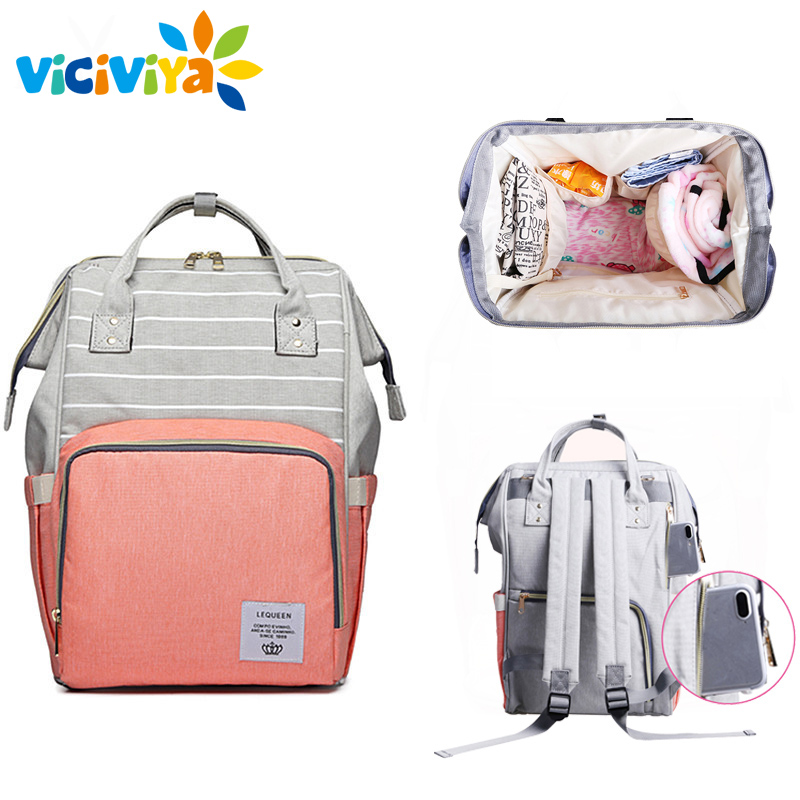 Lequeen Stripe Diaper Bag Backpack Designer Nursing Care Baby Bag Travel Nappy Bag Organizer Waterproof Maternity Patchwork Bag прыгунки baby care aero raspberry stripe