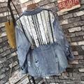 [XITAO] 2017 новое прибытие Street style женщины полный рукавом стенд воротник отверстие и Блесток джинсовый Жакет женский свободные джинсовые пальто XMS001