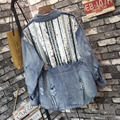 [XITAO] 2017 novo estilo de Rua chegada mulheres completo manga gola buraco e Lantejoula denim feminino Jaqueta casaco jean solto XMS001