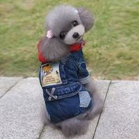The New Teddy Dog Clothes Fall And Winter Pet Dog Clothes Bear Pattern Jumpsuit Thick Denim