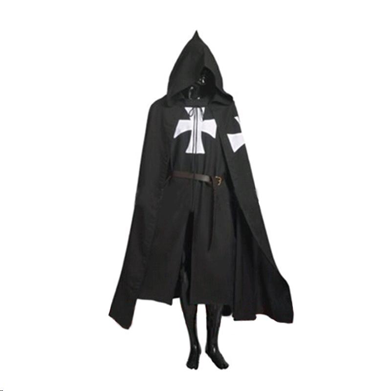 promo code b0ceb 2179a US $23.39 10% di SCONTO|Vendita calda Halloween Costume Medievale  Abbigliamento Cavalieri Neri Costume Hospitaller Tunica Mantello Del Capo  Uomo ...