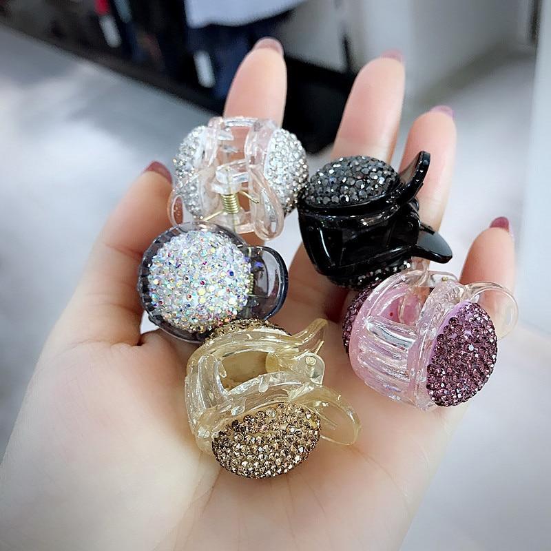 New Korean Sweet Girl Simple Trendy  Full Crystal Rhinestone Headwear Cute Small Hair Claws for Fashion Women Hair Accessories