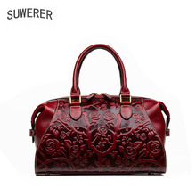 SUWERER 2019 New Women Genuine Leather bag Handmade embossing luxury leather shoulder bag designer women famous brand Boston bag new genuine leather backpack chinese style women embroidery phoenix shoulder bag famous designer rivet classic national daypack
