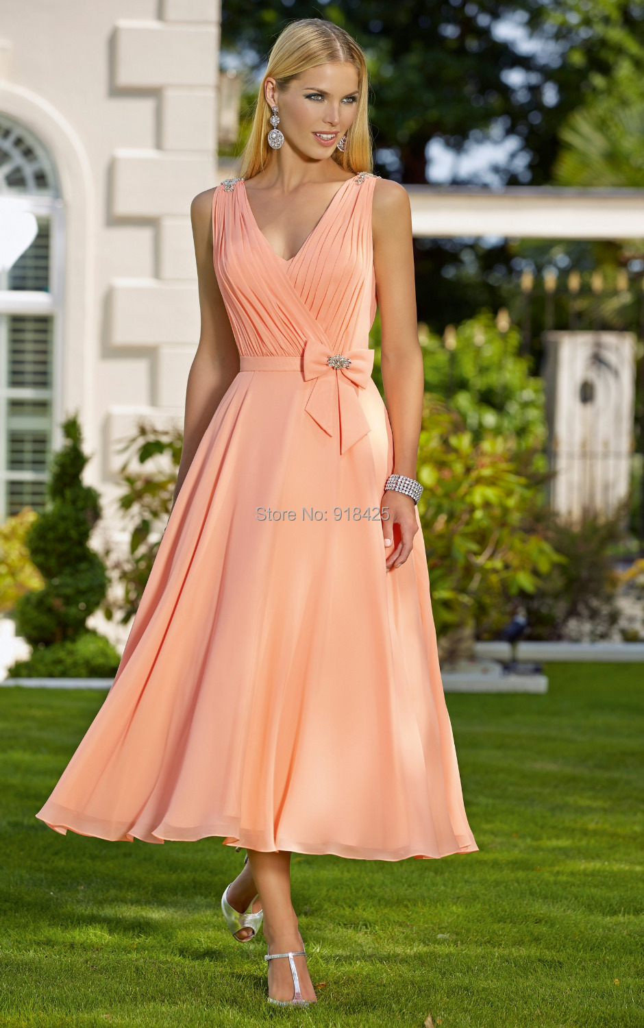 5b4f143b81d4 New Arrival Elegant Chiffon Tea Length Peach Color Bridesmaid Dresses V Neck  A Line Pleated Country Style MG283