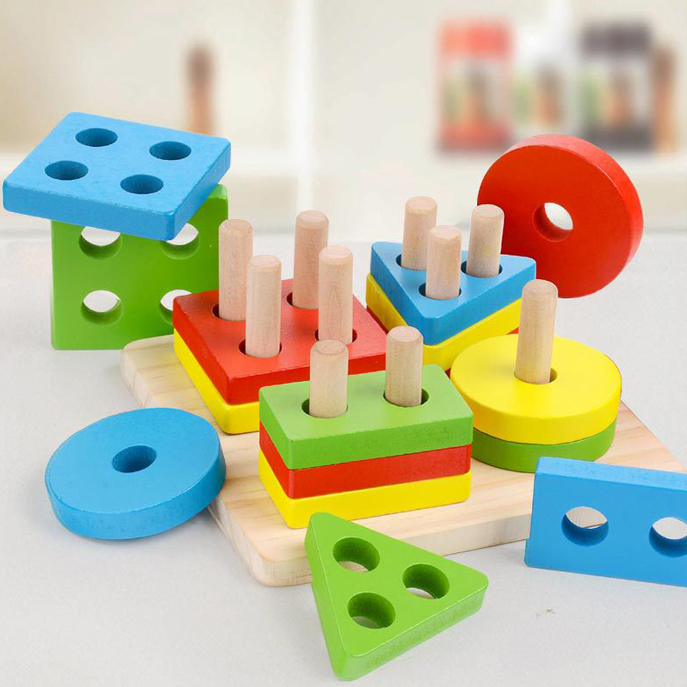 Baby Wooden Toys Geometric Sorting Board 3D Wood Puzzle ...