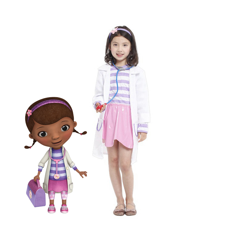 Doctor Doc McStuffins Dresses Clinic Child Girl's Cosplay Fancy Dress Carnival Halloween Costume Gift Costumes Include Coat