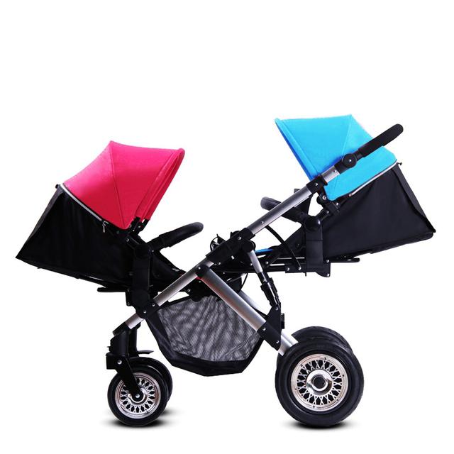 Alta Paisagem Carrinhos para Gêmeos, Hot Novo Estilo de Dobramento Duplo Carrinho de Bebê, Carrinhos de Bebê Gêmeos Carrinho de Bebê Crianças carrinho de Transporte