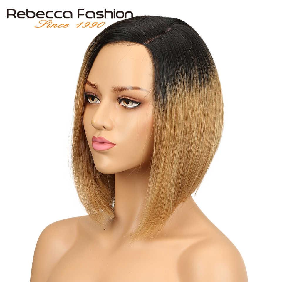 Rebecca opuściła L część ludzki włos koronki peruki dla kobiet brazylijski doczepiane proste włosy peruka z krótkim bobem brązowy niebieski Mix kolorów darmowa wysyłka
