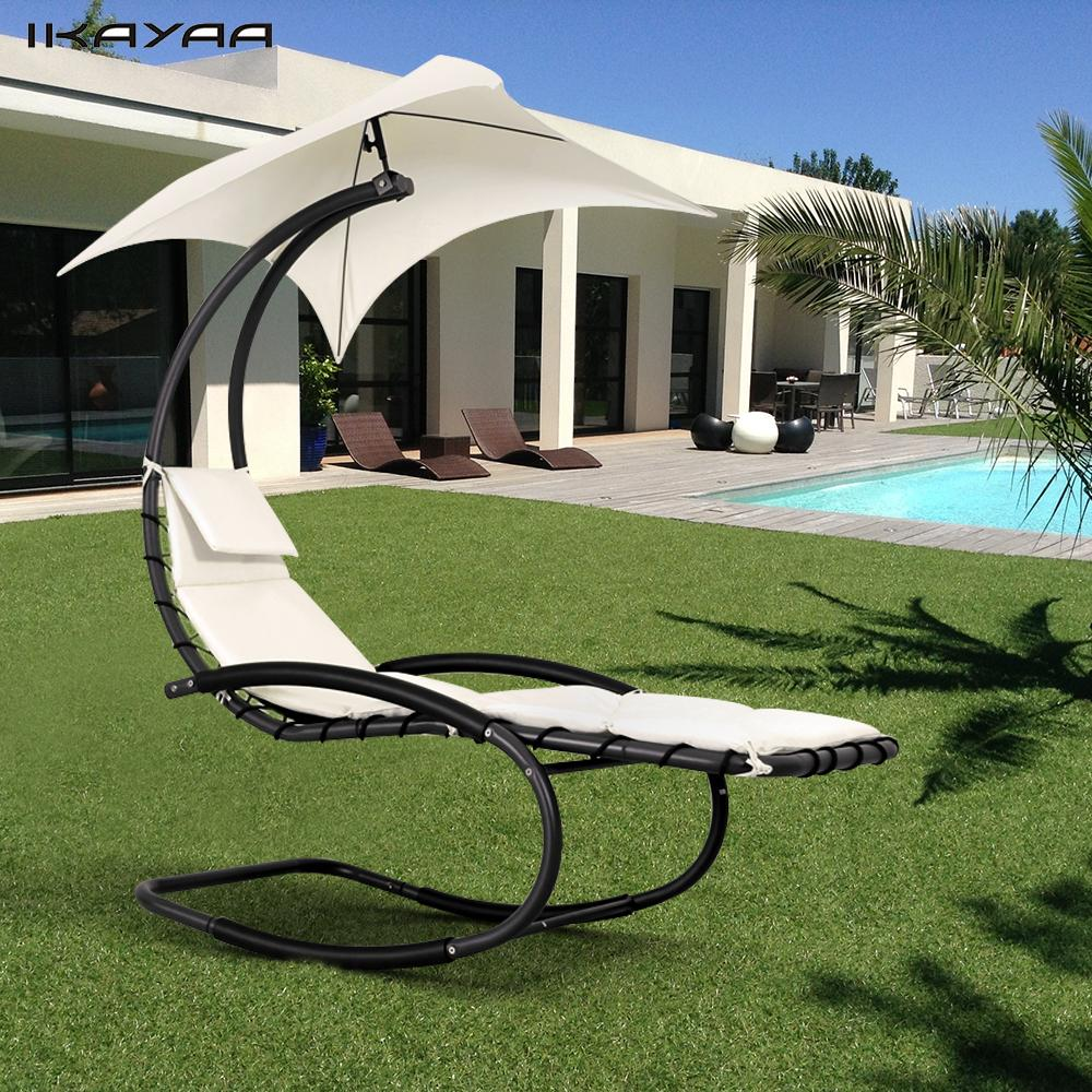 Pool Chaise Lounge Chairs Us 85 63 20 Off Ikayaa Rocking Outdoor Patio Chaise Lounge Chair W Canopy Garden Porch Pool Chaise Rocker De Stock Backyard Furniture In Garden