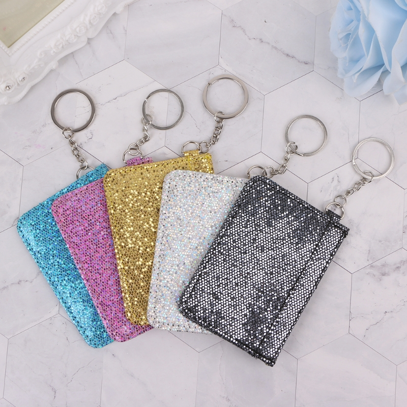 New Sequins Bus ID Credit Card Holder Case Badge Key Ring Key Chain Coin Purse все цены