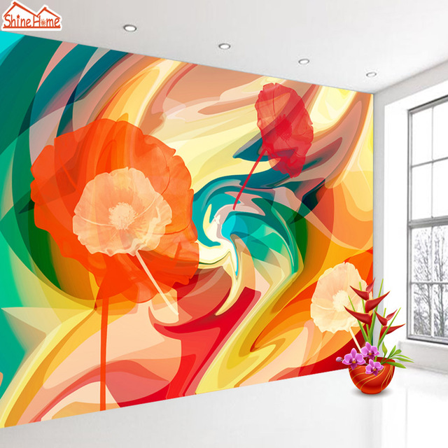 shinehome abstract colorful rose flower painting 3d wallpaper