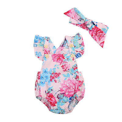 Infant Baby Girls Floral Rompers+Headband Outfits Clothes Ruffles Flower Backless Romper Jumpsuit Outfits Sunsuit Kids Clothing