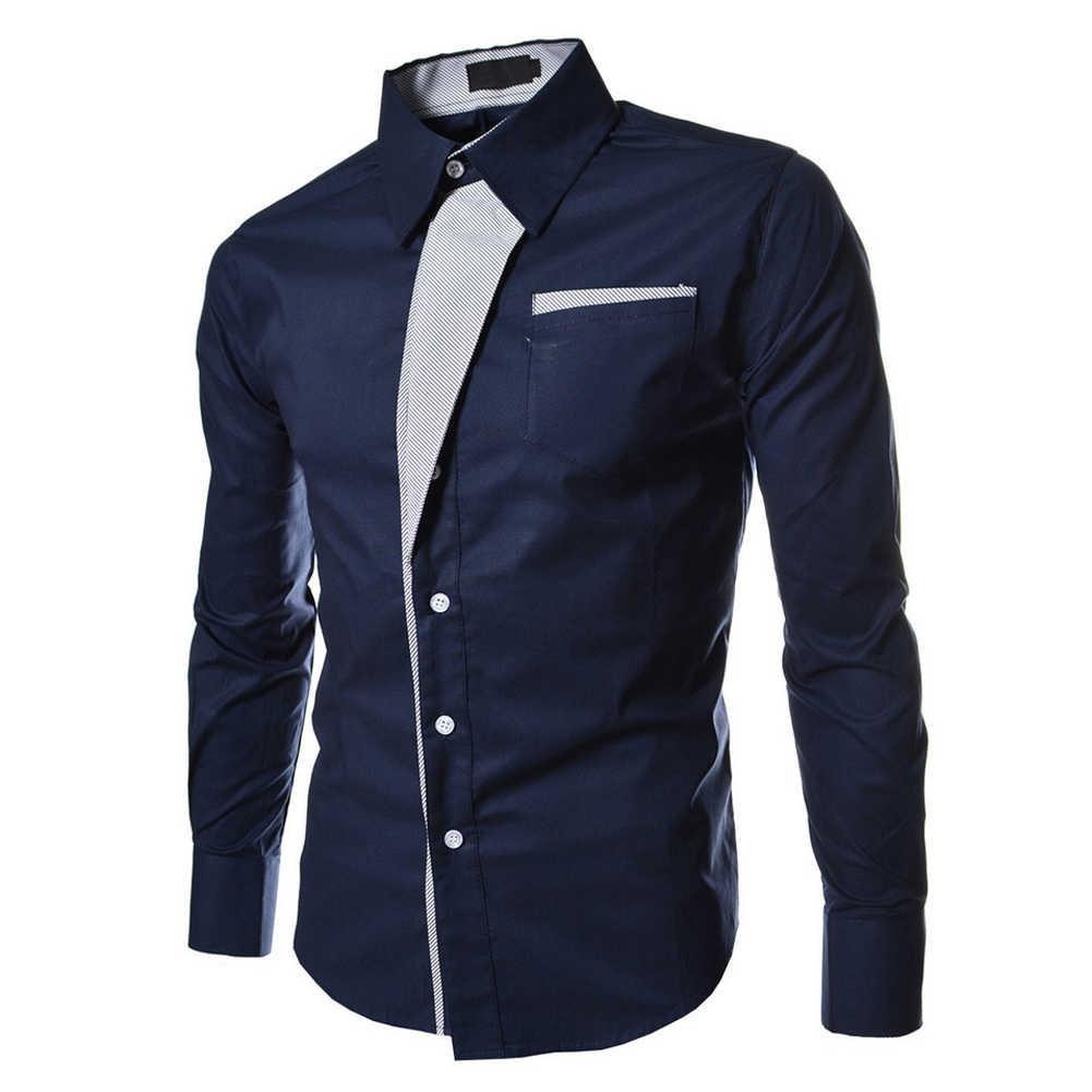 88e07870551fa62 Подробнее Обратная связь Вопросы о Осенние темно синие повседневные мужские  полосатые рубашки с длинным рукавом социальные блузки приталенные рубашки  на ...