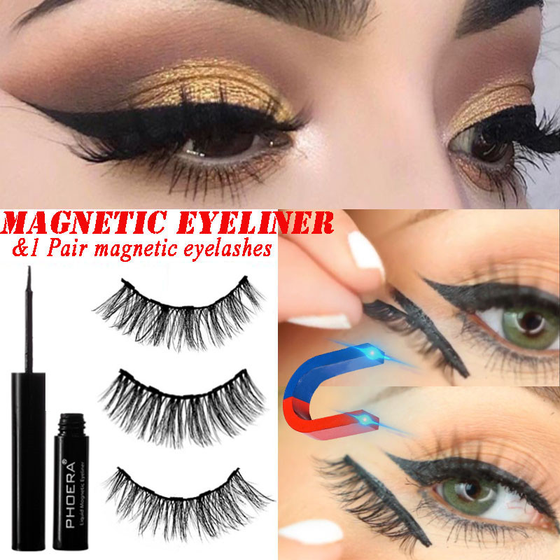 3e2ad898c29 3D mink Eyelashes Magnetic Eyeliner false Eyelashes natural Long Fake  Eyelash extension 5 magnet lash Eye Lashes makeup