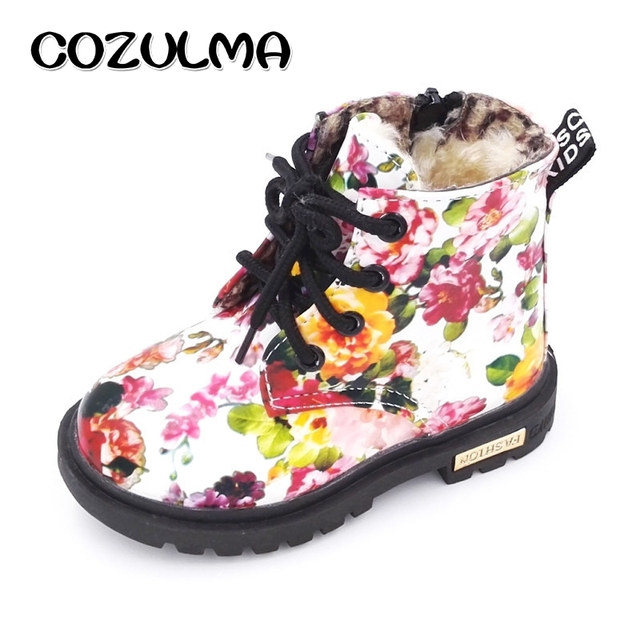 Kids Winter Plush Snow Boots for Girls Flower Print Martin Boots