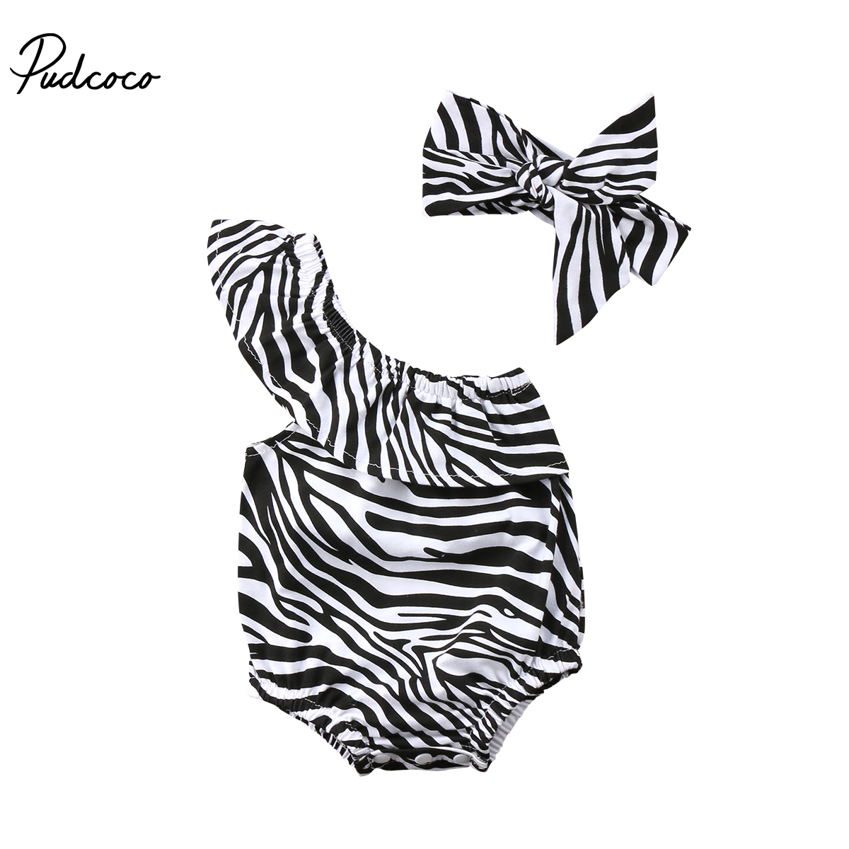 2Pcs Newbron Baby Girl Zebra Single Off Shoulder   Romper   Ruffle Sleeveless Jumpsuit Headband Clothes Outfits