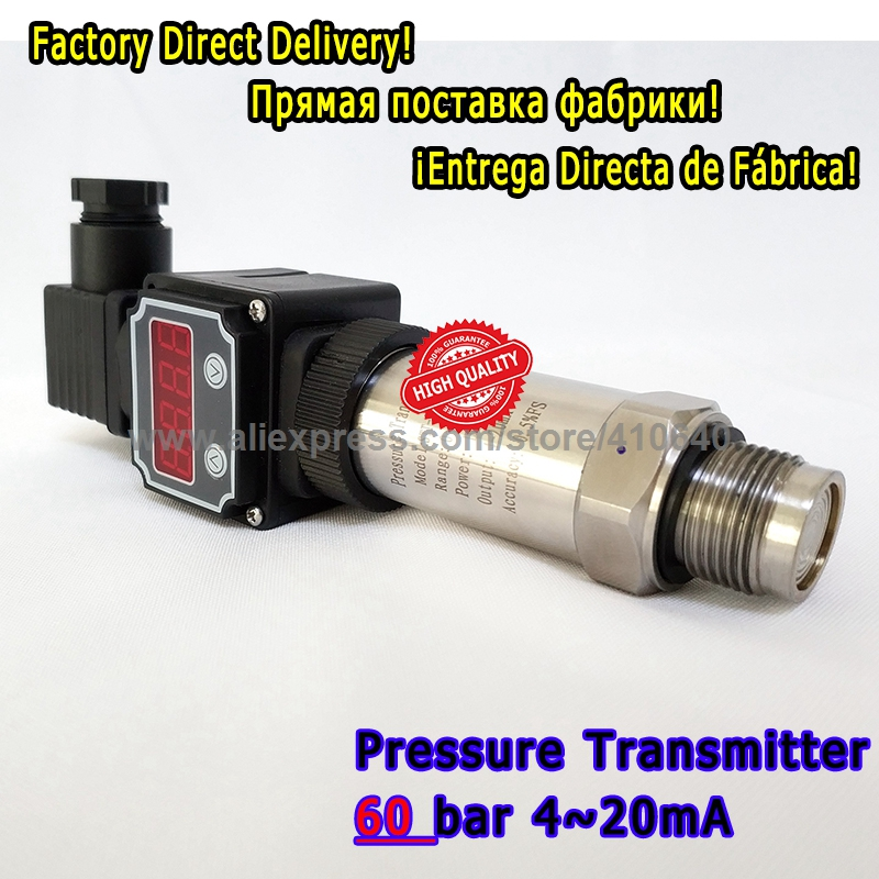 Flush Membrane Pressure Transmitter 4 20mA With Display 60 Bar Sealed Gauge G1/2 External Pressure Port Free Shipping free shipping g1 ports air filter regulator model aw5000 10 with pressure gauge 5pcs in lot high flow rate in stock