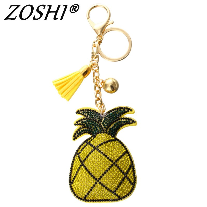 цена 2018 New fashion Key Chain Accessories Tassel Key Ring PU Leather pineapple fruit Pendant Car Keychain Holder Jewelry Bag Charms в интернет-магазинах