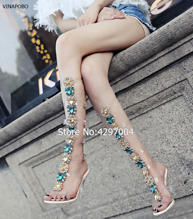 870bfc189e Detail Feedback Questions about 2018 Sexy Pvc Transparent Knee High Boots  Woman Open Toe T strap Rhinestone Diamond Clear High Heel Shoes Women  Gladiator ...