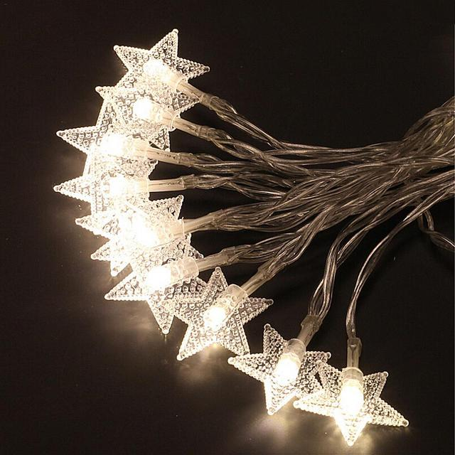 Kiagelin 10 20 40 Led Solar Fairy Lights Warm White Colorful String Star Outdoor Lighting For Christmas Decor