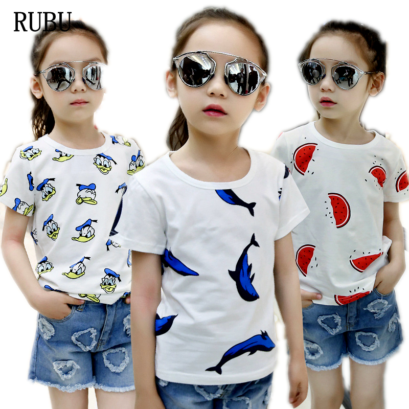 2018 Regular O-neck Cotton Unisex Character Summer T-shirt Clothes Child Fashion Lovely Neck T Kids Clothing Summer-dress
