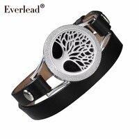 EVERLEAD tree of life bracelet for women black double leather diffuser health fashion wrap locket 316L Stainless Steel bracelets
