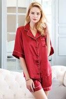 100% mulbery Шелковый Пижама комплект одежды для дома Женский Спящая Пижамные брюки комплекты Высокое качество натурального шелка с коротким ру