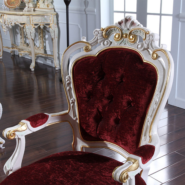 2016 Italian Continental Restaurant Chairs Extravagance Furniture French Carved Wood Chair Luxury Villa