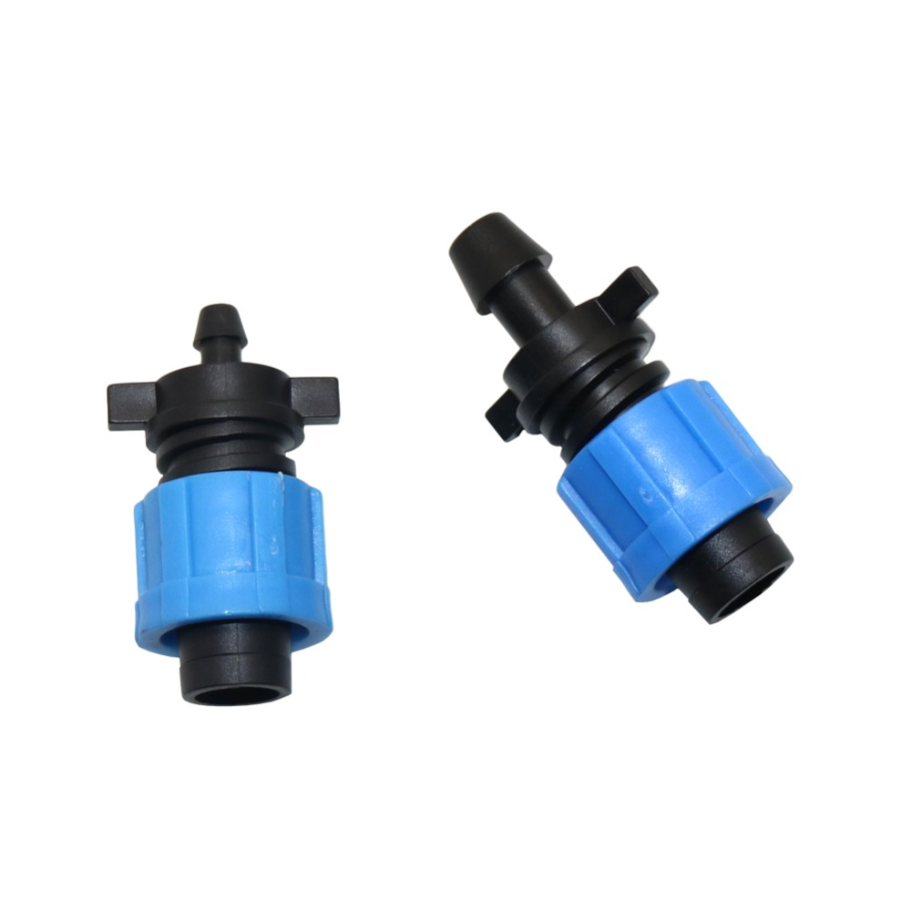 6mm To 16mm 10mm To 16mm Lock Offtake Drip Irrigation Pipe Connectors Garden Water Drip Tape Lock Nut Connection Fittings 5 Pcs