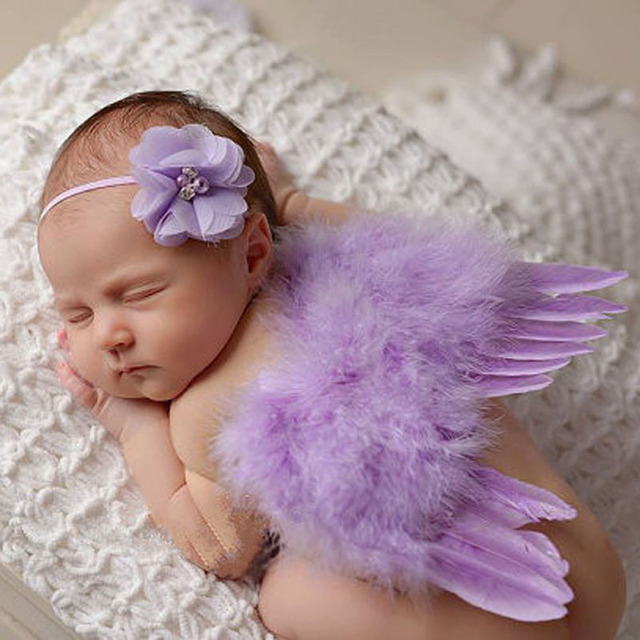 Stylish Newborn Baby Kids Feather Lace Headband & Angel Wings Flowers Photo Prop