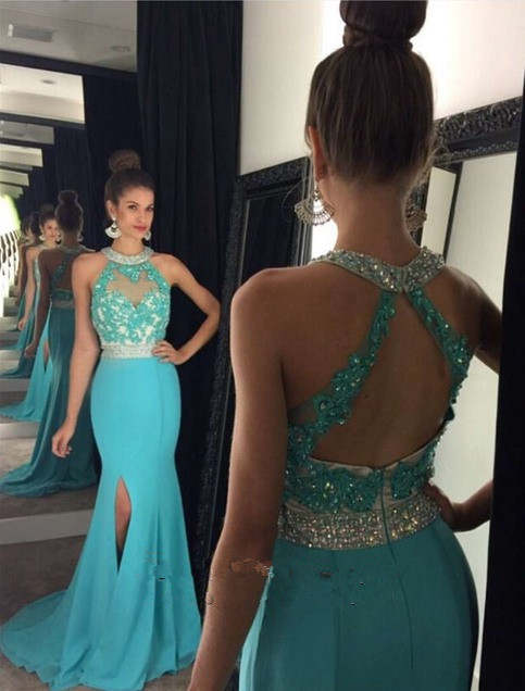 Vestiti Cerimonia Color Tiffany.Abendkleider Lang 2017 Sexy Slit Tiffany Blue A Line Chiffon