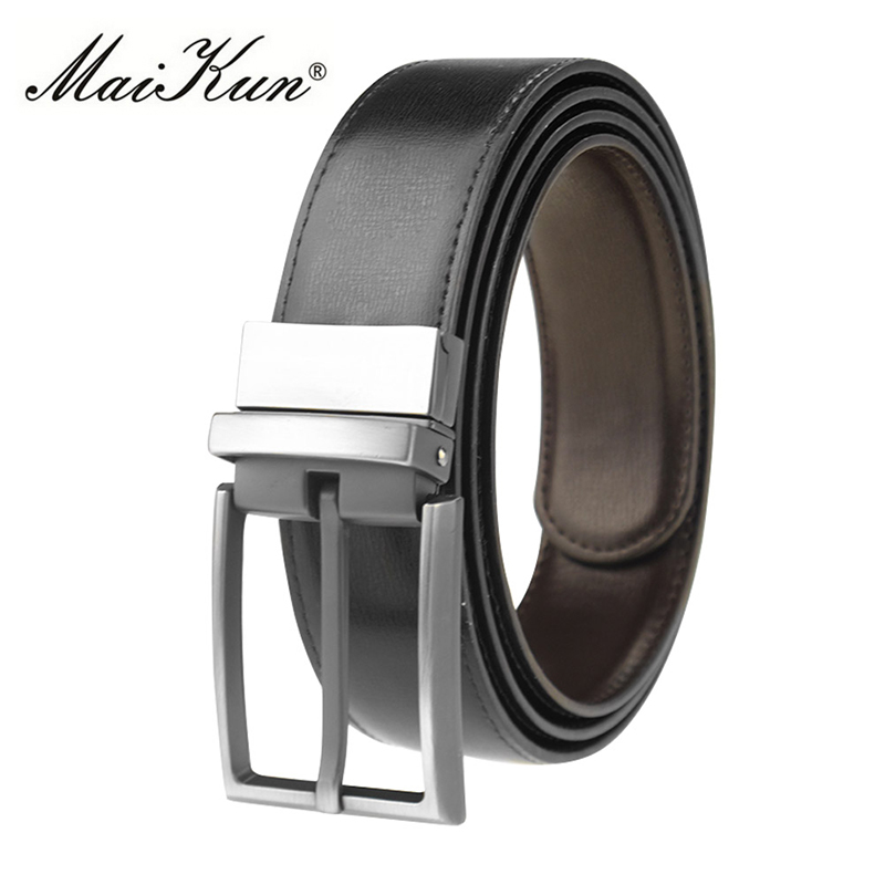 Maikun Designer Pin Buckle Leather Men   Belts   for Men Luxury Reversible Black   Belts   Fashion Business Men's Cowskin Leather   Belt